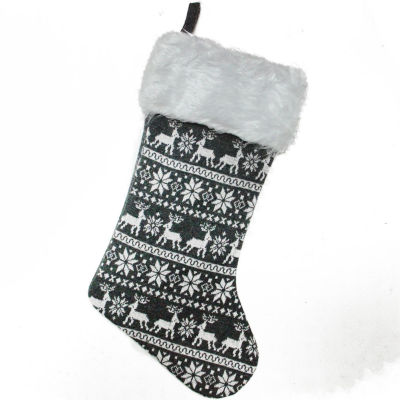 "19.5"" Gray and White Reindeer and Snowflake Knit Christmas Stocking with Faux Fur Cuff"