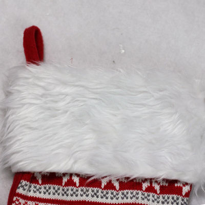 "19.5"" Red  Gray and White Tree  Deer and Snowflake Knit Christmas Stocking with Faux Fur Cuff"