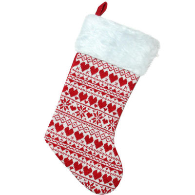 """19.5"""" Red and White Heart and Snowflake Knit Christmas Stocking with White Faux Fur Cuff"""