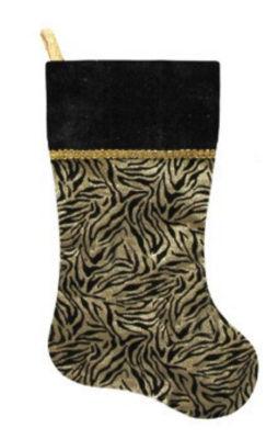 "20"" Black and Gold Metallic Zebra Print Christmas Stocking with Shadow Velveteen Cuff"