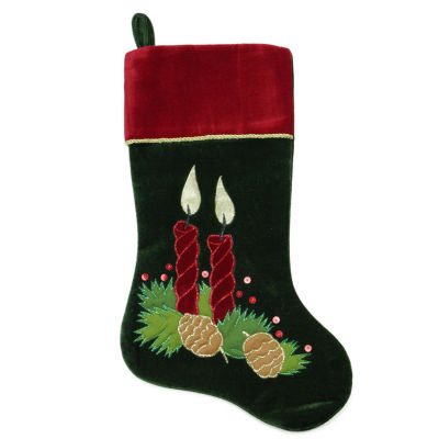 """20"""" Dark Green and Burgundy Candle and Pine Cone Christmas Stocking with Red Velveteen Cuff"""