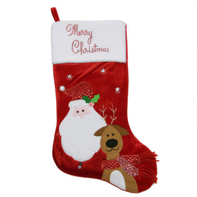 "20"" Embroidered Red Velveteen ""Merry Christmas"" Santa Claus and Reindeer Stocking"