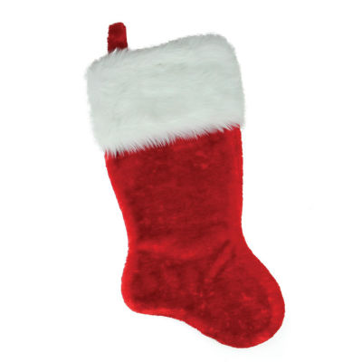 "20"" Luxurious Traditional Red with White Cuff Extra Plush Christmas Stocking"