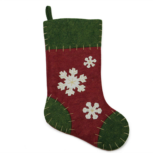 "20"" Natural Green and Red Snowflake Applique Christmas Stocking with Blanket Stitching"