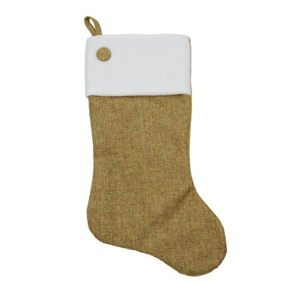 """20"""" Natural Tan Christmas Tree Stocking with Button and Fleece Cuff"""
