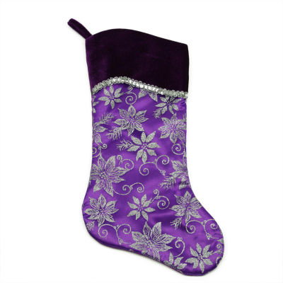 """20"""" Purple and Silver Glittered Floral Christmas Stocking with Shadow Velveteen Cuff"""