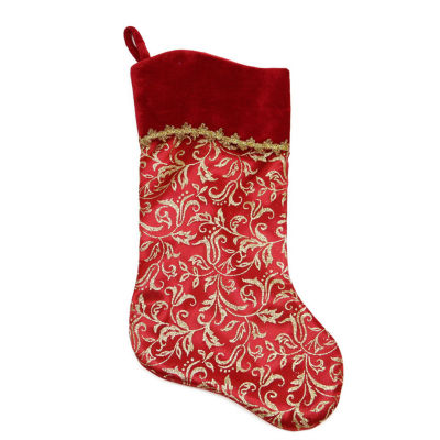 "20"" Red and Gold Glittered Leaf Flourish Christmas Stocking with Shadow Velveteen Cuff"