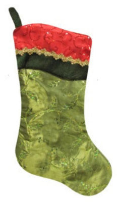"""20"""" Red and Green Leaf Christmas Stocking with Wavy Sequined Cuff"""