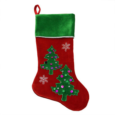 "20"" Red Velveteen Sequined Christmas Tree Stocking with Green Cuff"