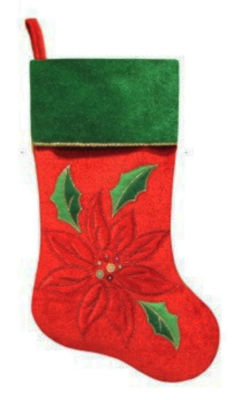 "20"" Red Velveteen Sequined Poinsettia Christmas Stocking with Green Cuff"