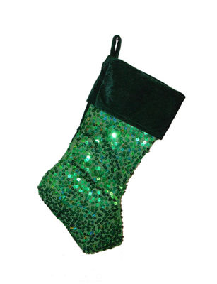 "20"" Shiny Metallic Green Sequined Christmas Stocking with Velveteen Cuff"