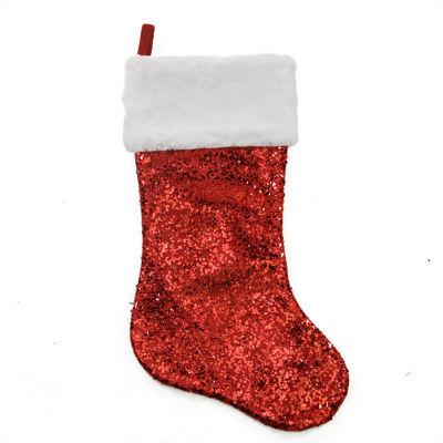 """20"""" Shiny Red Holographic Sequined Christmas Stocking with White Faux Fur Cuff"""