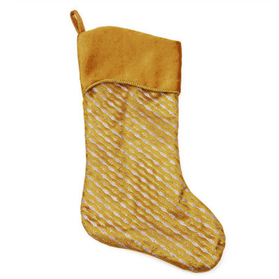 "20"" Silver and Gold Glitter Striped Christmas Stocking with Shadow Velveteen Cuff"