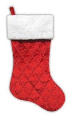 """20"""" Traditional Red Quilted Velveteen Christmas Stocking with White Faux Fur Cuff"""