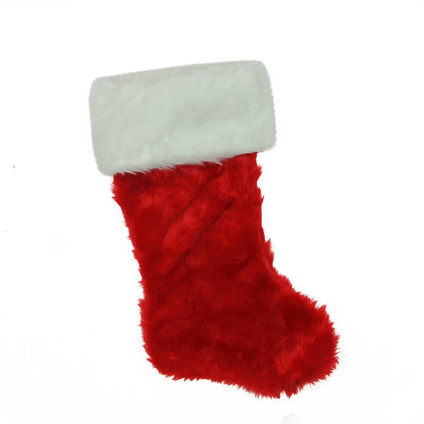 "20"" Traditional Red with White Cuff Decorative Plush Christmas Stocking"