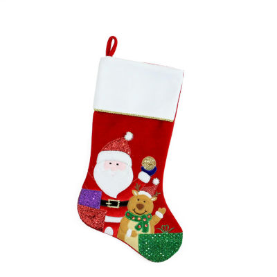 """20.5"""" Red and White Santa Claus and Reindeer with Glitter Presents Christmas Stocking"""