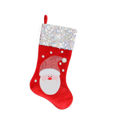 """20.5"""" Red and White Santa Claus Embellished and Embroidered Christmas Stocking with Sequined Cuff"""
