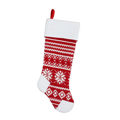 "21.5"" Alpine Chic Red and White Knitted Snowflake Christmas Stocking with White Fleece Cuff"