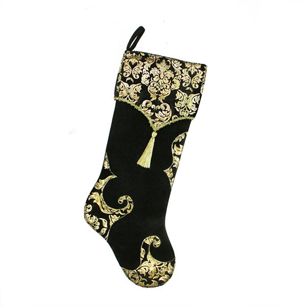 "21.5"" Black and Metallic Gold Damask Print Christmas Stocking with Gold Tassel and Trim"