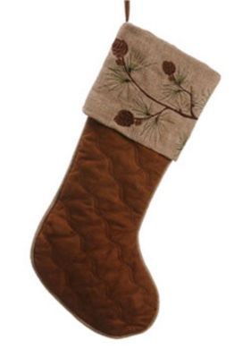 """22"""" In the Birches Brown Embroidered Pine Cone Christmas Stocking"""