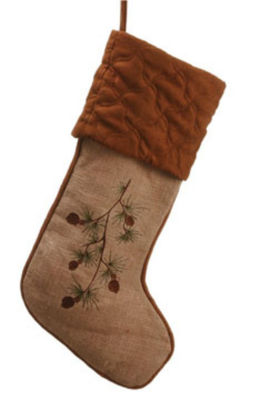 "22"" In the Birches Tan Embroidered Pine Cone Christmas Stocking"