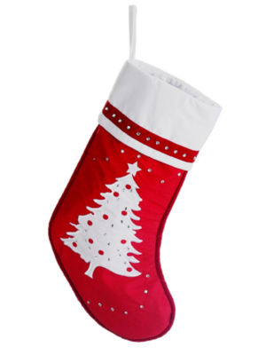 """22"""" Red & White Embroidered Christmas Tree Stocking with Rhinestones"""