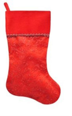 """22"""" Red with Glittering Swirl Design on Sheer Organza Christmas Stocking"""