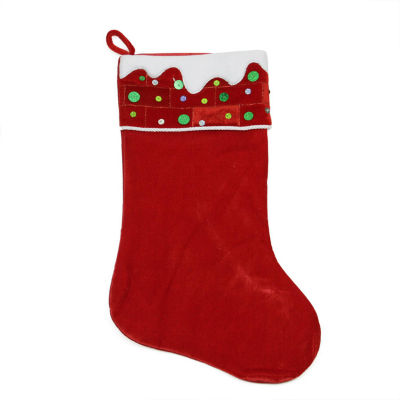 """24"""" Large Red and White Sequined Velveteen Christmas Stocking"""