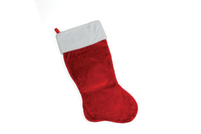 """35"""" Traditional Red with White Cuff Decorative Plush Christmas Stocking"""