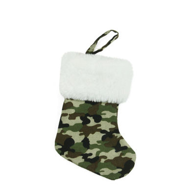 """7"""" Army Camouflage Mini Christmas Stocking with White Faux Fur Cuff"""