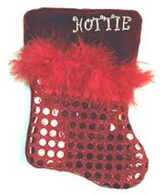 """7"""" Red Sequined Feathered """"Hottie"""" Mini Christmas Stocking"""