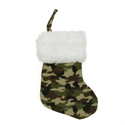 """8"""" Army Camouflage Mini Christmas Stocking with White Faux Fur Cuff"""
