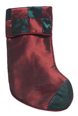 "Red & Green Checkered Silk Christmas Stocking 17"" #23329200002"