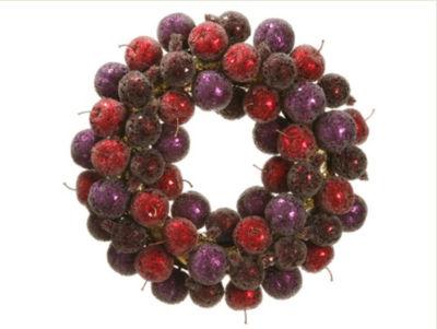 "17.5"" Sugared Fruit Plum  Apple and Pomegranate Christmas Wreath - Unlit"""