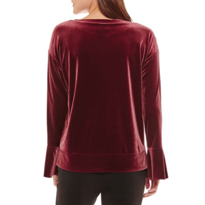 Worthington Long Sleeve Sweatshirt-Petites