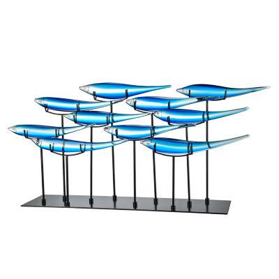 Dale Tiffany School of 10 Blue Fish Art Glass Sculpture