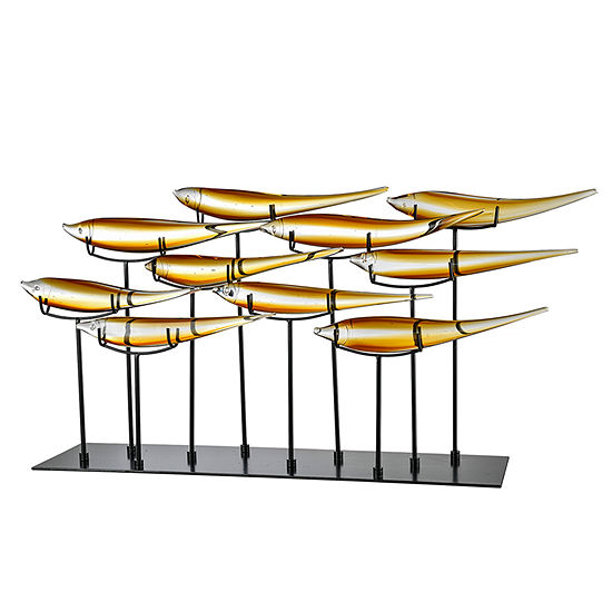 Dale Tiffany School of 10 Amber Fish Art Glass Sculpture