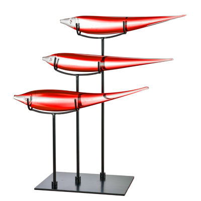 Dale Tiffany School of 3 Red Fish Art Glass Sculpture