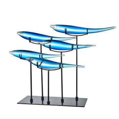 Dale Tiffany School of 5 Blue Fish Art Glass Sculpture