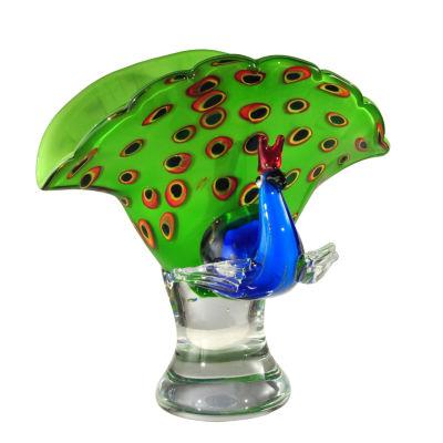Dale Tiffany Peacock Art Glass Sculpture