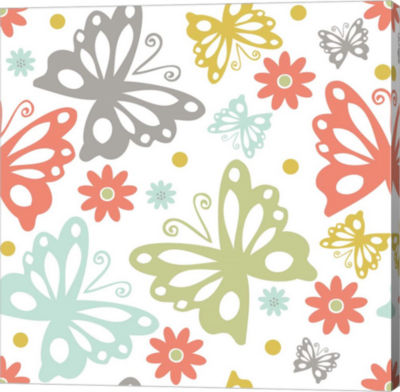 Metaverse Art Butterflies and Blooms Tranquil II Gallery Wrap Canvas Wall Art