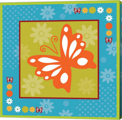 Metaverse Art Butterflies and Blooms Playful XII Gallery Wrap Canvas Wall Art