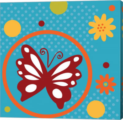 Metaverse Art Butterflies and Blooms Playful VII Gallery Wrap Canvas Wall Art