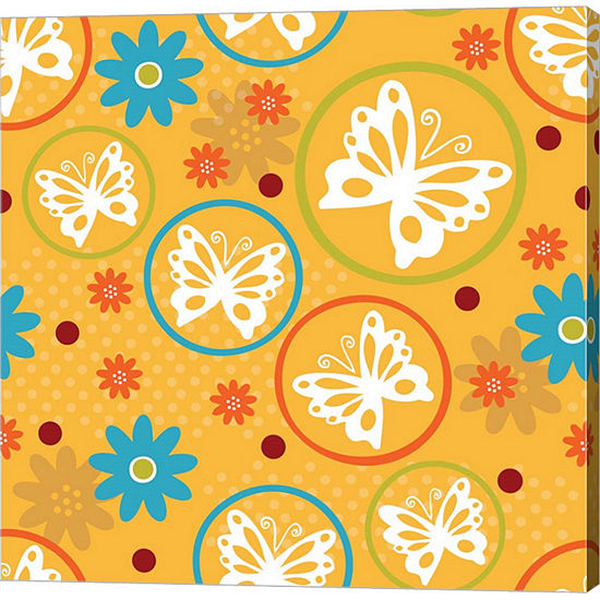 Metaverse Art Butterflies and Blooms Playful V Gallery Wrap Canvas Wall Art