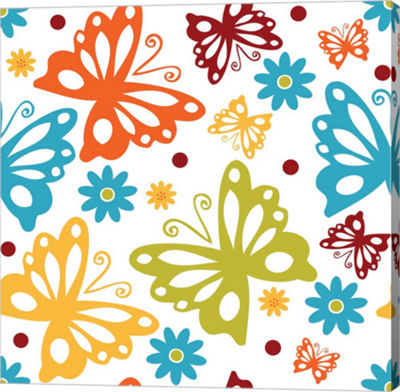 Metaverse Art Butterflies and Blooms Playful II Gallery Wrap Canvas Wall Art