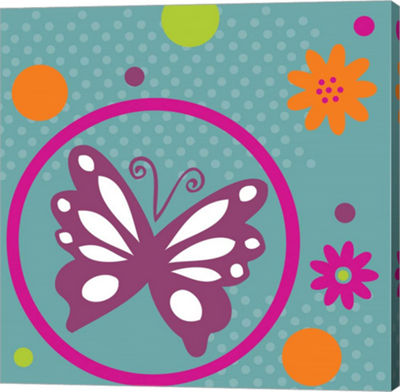 Metaverse Art Butterflies and Blooms Lively VII Gallery Wrap Canvas Wall Art