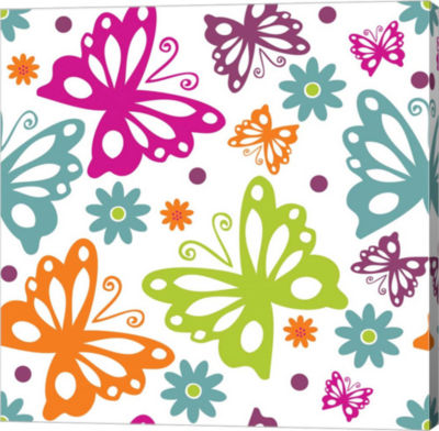 Metaverse Art Butterflies and Blooms Lively II Gallery Wrap Canvas Wall Art