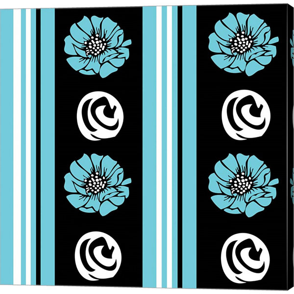 Metaverse Art Bold Turquoise Flower XII Gallery Wrap Canvas Wall Art