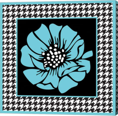 Metaverse Art Bold Turquoise Flower XI Gallery Wrap Canvas Wall Art