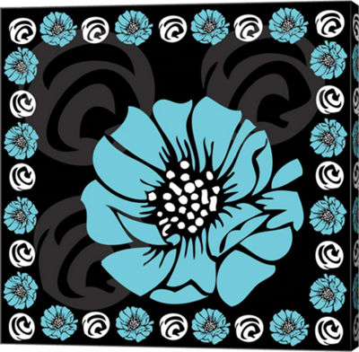 Metaverse Art Bold Turquoise Flower X Gallery WrapCanvas Wall Art